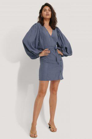 NA-KD Trend Puff Sleeve Tie Waist Dress - Blue