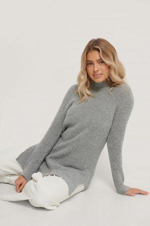 Trendyol Stickad Miniklänning - Grey