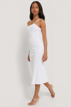 NA-KD Trend Ribbed One Shoulder Dress - White