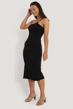 NA-KD Trend Ribbed One Shoulder Dress - Black