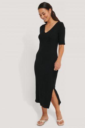 NA-KD Basic Ribbed V-Neck Jersey Midi Dress - Black