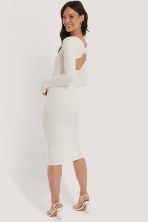 NA-KD Trend Ribbed Wrapped Back Dress - White