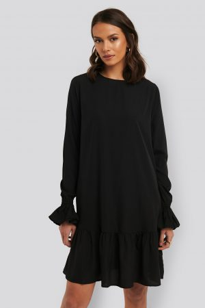 NA-KD Boho Round Neck Flounce Mini Dress - Black