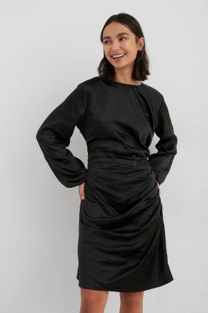 NA-KD Trend Ruched Satin Dress - Black