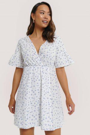 NA-KD Ruffle Sleeve Mini Dress - White