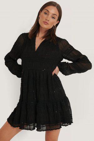 NA-KD Boho Sequin Detail Flowy Dress - Black