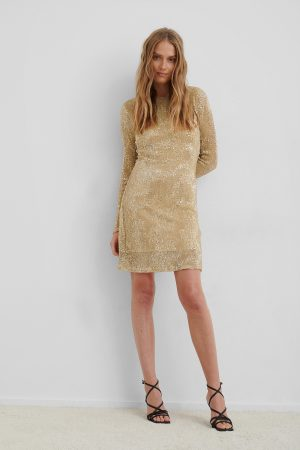 NA-KD Party Sequin Round Neck Mini Dress - Gold
