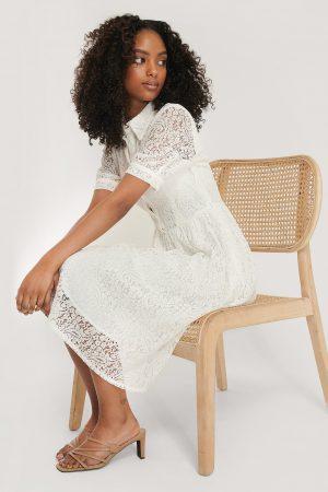 NA-KD Boho Spetsklänning Med Kort Ärm - White
