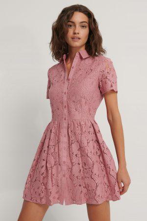 NA-KD Boho Kortärmad Miniklänning I Spets - Pink