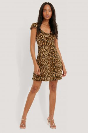 NA-KD Short Sleeve Printed Mini Dress - Brown