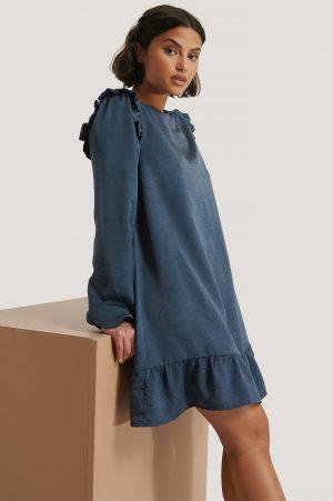 NA-KD Miniklänning Med Volangdetalj - Blue