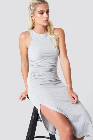 NA-KD Trend Side Ruching Dress - Grey