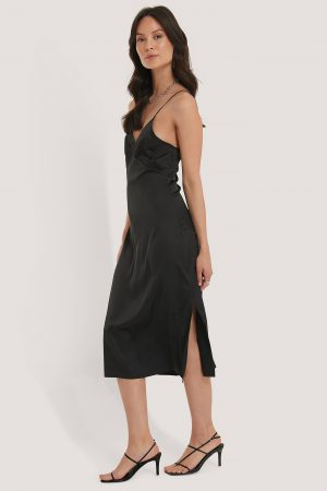 NA-KD Party Slip Satin Slit Dress - Black