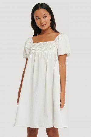NA-KD Boho Smockklänning Med Puffärm - White