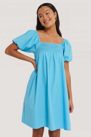 NA-KD Boho Smockklänning Med Puffärm - Blue