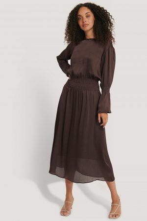 NA-KD Smocking Detail Satin Midi Dress - Brown