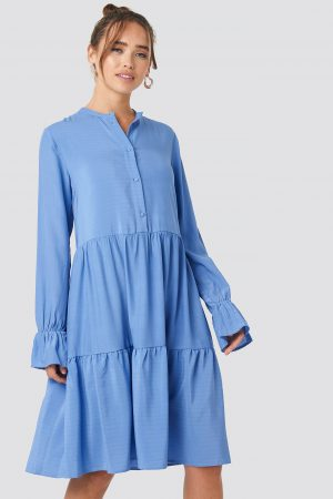 NA-KD Trend Solid Shirt Dress - Blue
