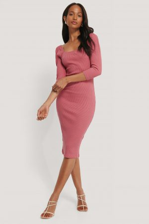 NA-KD Trend Square Neck Puff Sleeve Rib Dress - Pink
