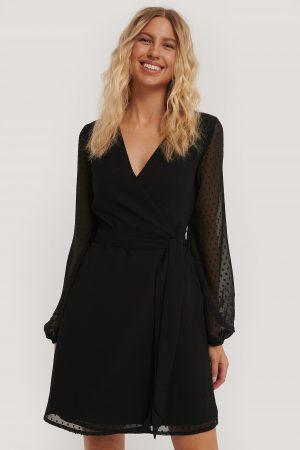 NA-KD Swiss Dot Overlap Dress - Black