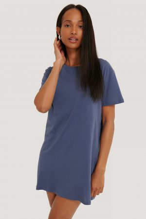 NA-KD Basic T-Shirtklänning - Blue