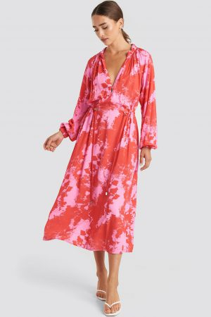 NA-KD Trend Tie Dye Balloon Sleeve Midi Dress - Pink