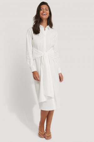 NA-KD Classic Tie Front Shirt Dress - White