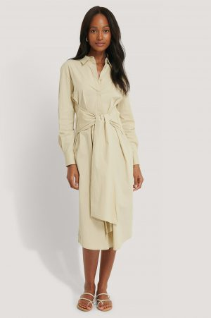 NA-KD Classic Tie Front Shirt Dress - Beige