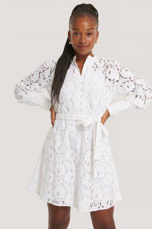 NA-KD Trend Spetsklänning - White