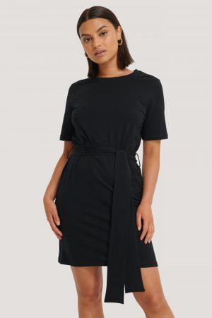 NA-KD Tie Waist T-shirt Dress - Black