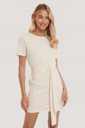 NA-KD Tie Waist T-shirt Dress - White