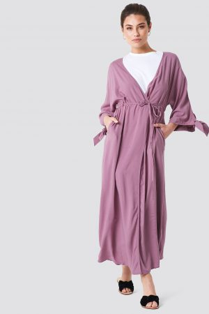 NA-KD Boho Tied Sleeve Coat Dress - Pink
