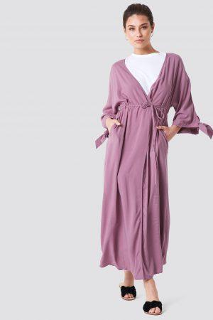 NA-KD Boho Tied Sleeve Coat Dress - Pink
