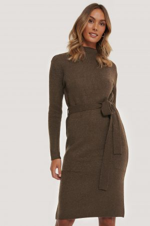 AFJ x NA-KD Tied Waist Knitted Dress - Brown