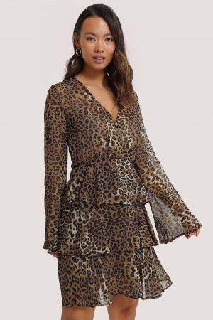 NA-KD Boho Triple Layer LS Flounce Dress - Brown