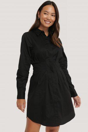 NA-KD Trend Miniskjortklänning Med Instoppad Midja - Black