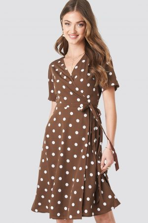 NA-KD Boho V-Neck Dotted Midi Dress - Brown
