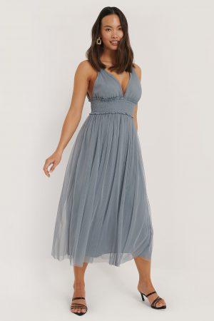 NA-KD Party V-neck Tulle Midi Dress - Blue