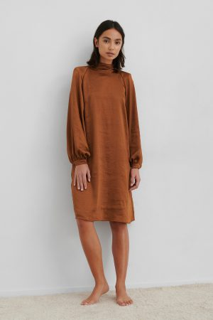 NA-KD Trend Volume Sleeve Satin Dress - Orange