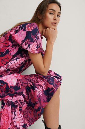 NA-KD Trend Midiklänning Med Kort Puffärm - Multicolor