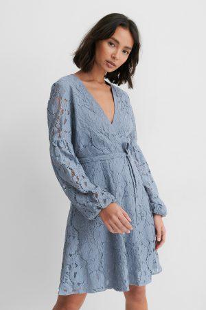 NA-KD Boho Spetsklänning Med Midjebälte - Blue