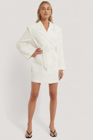 NA-KD Classic Wide Shoulder Belted Blazer Dress - White