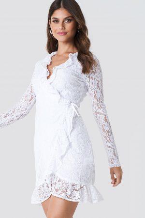 NA-KD Boho Wrap Front Lace Dress - White