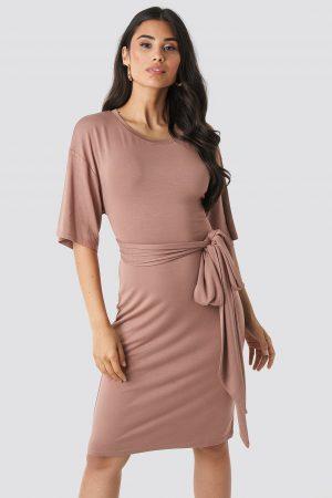 NA-KD Wrapped Detail Jersey Dress - Pink