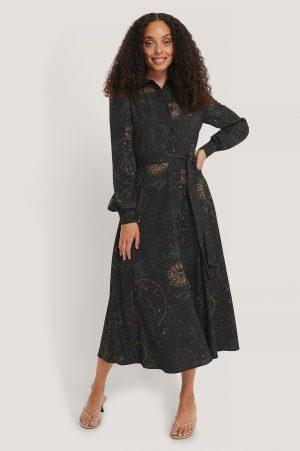 NA-KD Skjortklänning Med Horoskoptryck - Black