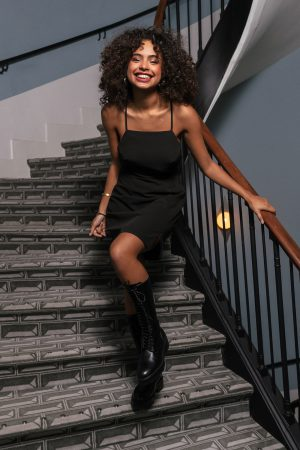 Paola Locatelli x NA-KD Miniklänning Med Korslagda Band Bak - Black