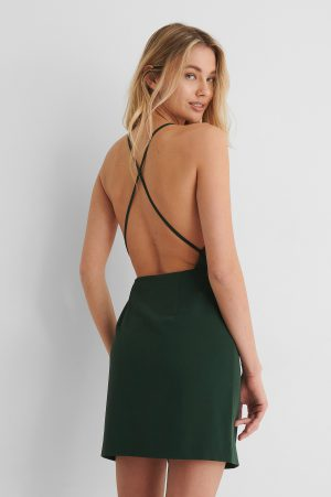 Paola Locatelli x NA-KD Miniklänning Med Korslagda Band Bak - Green