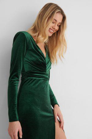 Paola Locatelli x NA-KD Klänning Med Markerad Midja - Green