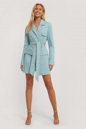 Paola Locatelli x NA-KD Oversize Skjortklänning - Turquoise