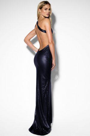 Rebecca Stella One Shoulder Sequin Dress - Blue