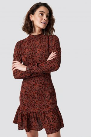 Rut&Circle Leo Print Dress - Red